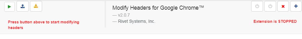 Modify Headers for Google Chromeメイン画面