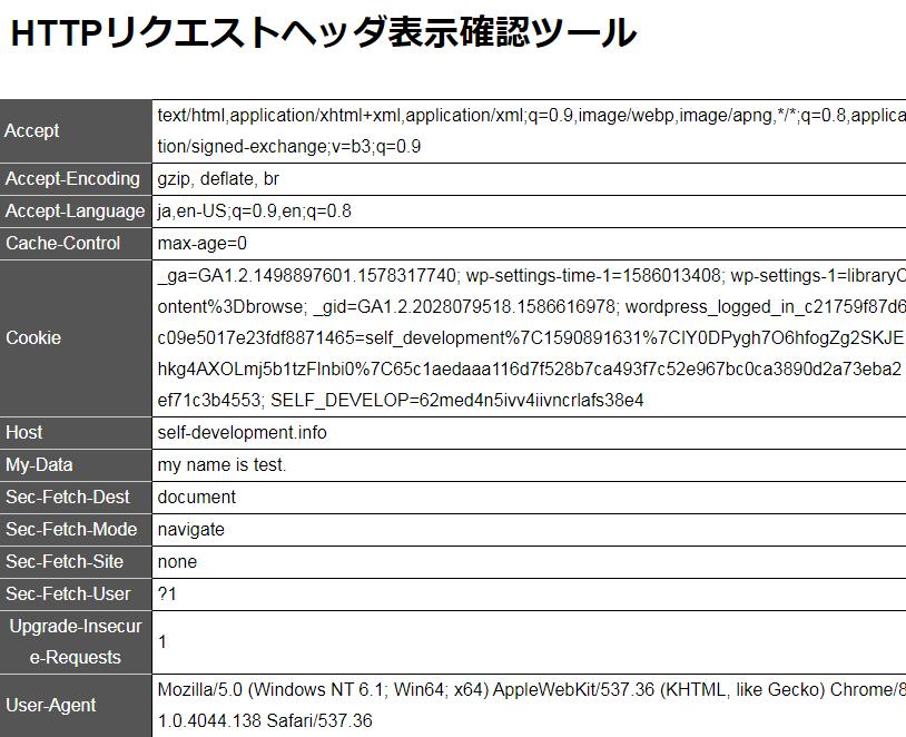 HTTPリクエストヘッダ表示確認ツール