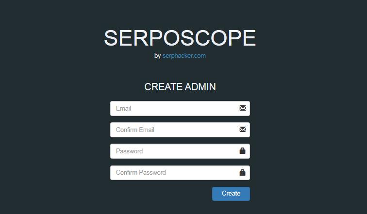 Serposcopeのアカウント作成画面