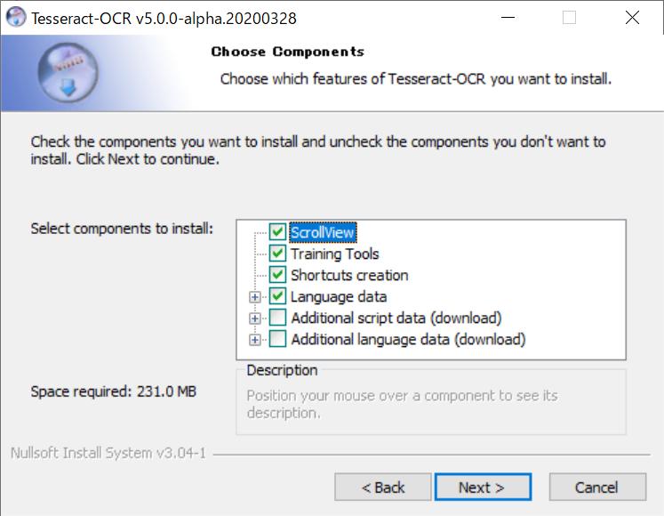TesseractのWindowsへのインストール 【コンポーネントの選択】