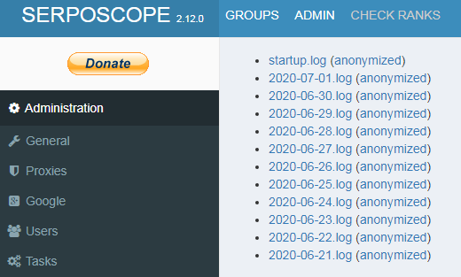 Serposcopeの管理画面