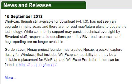 WinPcap開発停止