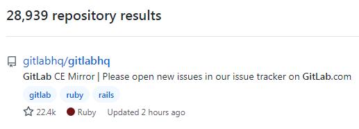 「GitLab」で検索したリポジトリ数とGitLabのスター数です。