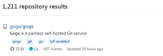「Gogs」で検索したリポジトリ数とGogsのスター数です。